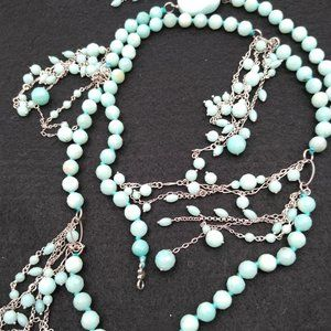 Turquoise Colored Faceted Stone Bead Belt/Necklace